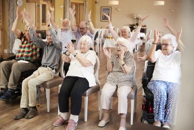 group of senior having session